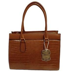 Alyssa Nicole Cognac Vegan Leather Handbag